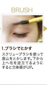 BRUSH 1.ブラシでとかす スクリューブラシを使って眉山をとかします。下から上へ毛を逆立てるようにすると立体感がUP。