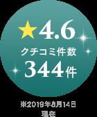 ★4.6 クチコミ件数 344件 ※2019年8月14日現在